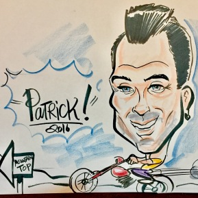 Caricature of Patrick from our MassMutual agency 2017 Holiday Party in Beverly Hills!