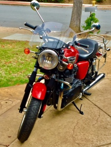 "Pat's Motorcycle - dubbed ""R2"" (Rocinante 2) It's a 2014 Triumph Bonneville - eat that, Willard:)"